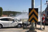 Bariyere çarptı, araçtaki yangını beton mikseri söndürdü