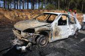 Keşan'da otomobilde çıkan yangın ormanlık alana sıçradı