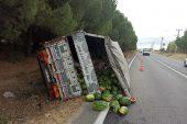 Keşan'da devrilen kamyonun sürücüsü yaralandı