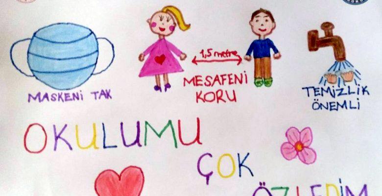 """Kocaeli'de öğrencilerden afişli """"Maske tak"""" mesajı"""