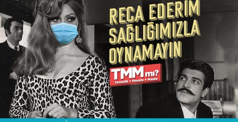 """Kocaeli'de Yeşilçam sanatçılarının fotoğraflarıyla """"maske çağrısı"""""""