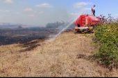 Lüleburgaz'da çıkan mera yangını söndürüldü