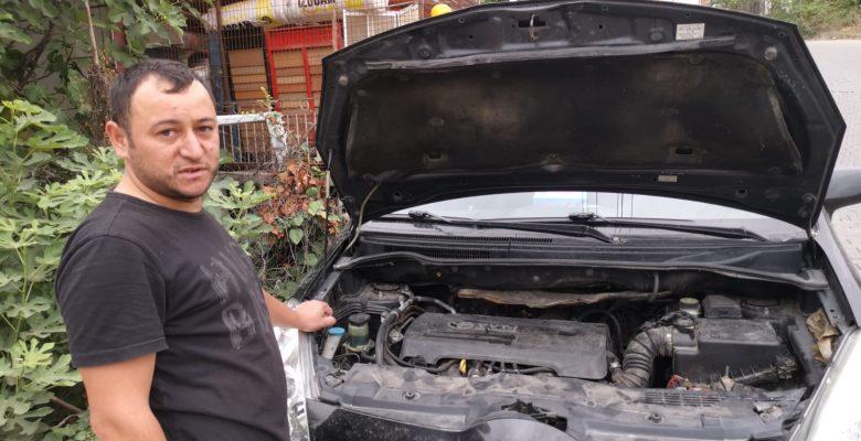 Otomobilin motor kısmına giren yavru kedi kurtarıldı