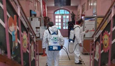 Yüz yüze eğitim öncesi, okullarda dezenfekte çalışması