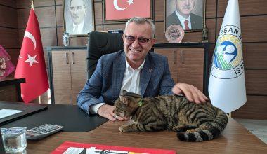 Keşan Belediye Başkanı yazlıkçıların emanet ettiği sokak kedisini makamına aldı
