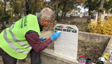 Süloğlu'nda mezar taşlarında bakım ve yenileme çalışması