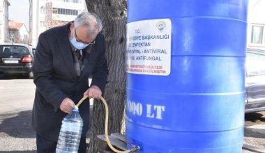 """Keşan'daki """"dezenfektan çeşmesi"""" vatandaşın sağlığı için akıyor"""