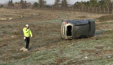 Tarlaya devrilen cipin sürücüsü yaralandı