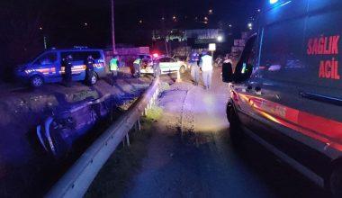 Dereye devrilen otomobil sürücüsü yaralandı