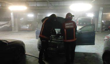 Otoparkta yanan otomobilde hasar oluştu