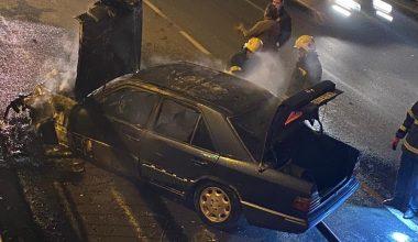 Kaza sonrası alev alan otomobil yandı!