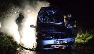 Seyir halindeki otomobilde yangın!