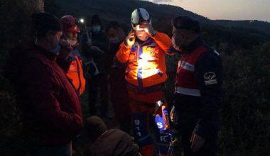 Sarp arazide dengesini kaybedip düşen mühendis kurtarıldı