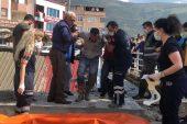 Beton dökülürken çöken inşaatda 3 işçi yaralandı