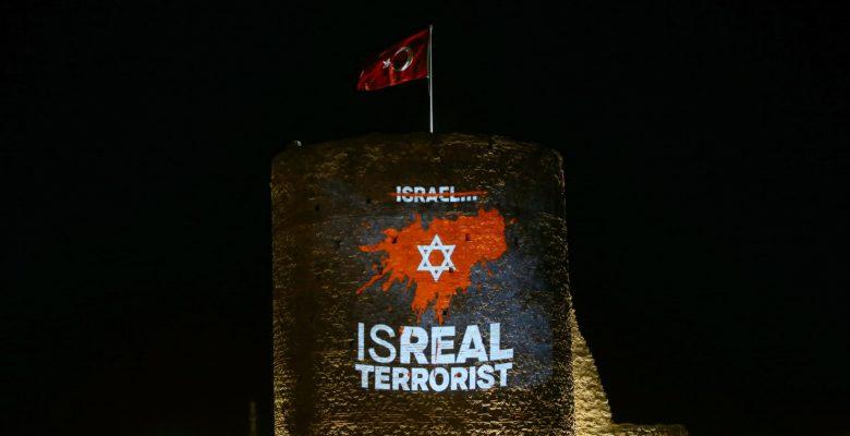 Pınarhisar Kalesi Filistin'e destek için ışıklandırıldı