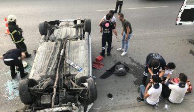 Takla atan otomobilde bulunan 3 kişi yaralandı