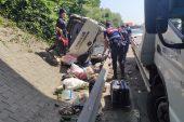Otoyolda kaza! Panelvan devrildi… 6 yaralı