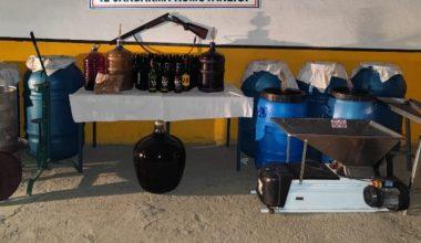 Bağ evinde bin 355 litre sahte içki…