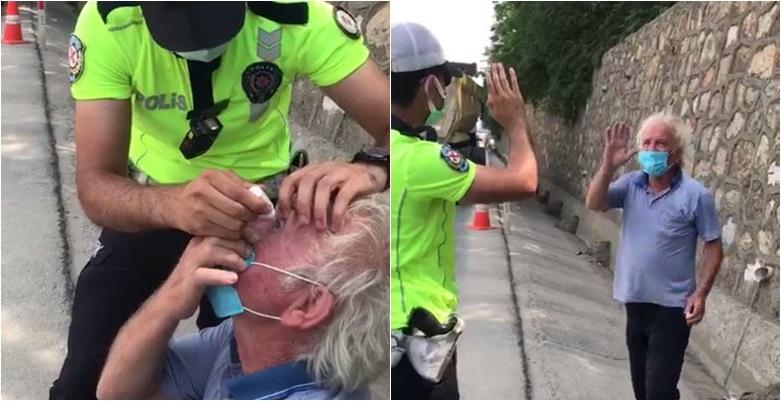 Gözünden rahatsızlanan tır şoförüne trafik polisinden yardım